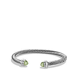 David Yurman Sterling Silver Prasiolite & 0.18ct Diamond Cable Classics Bracelet