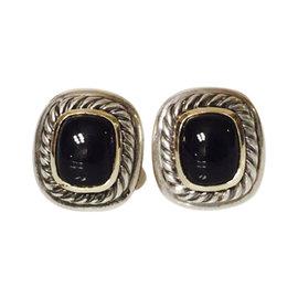 David Yurman Sterling Silver & 14K Yellow Gold Black Onyx Albion Earrings