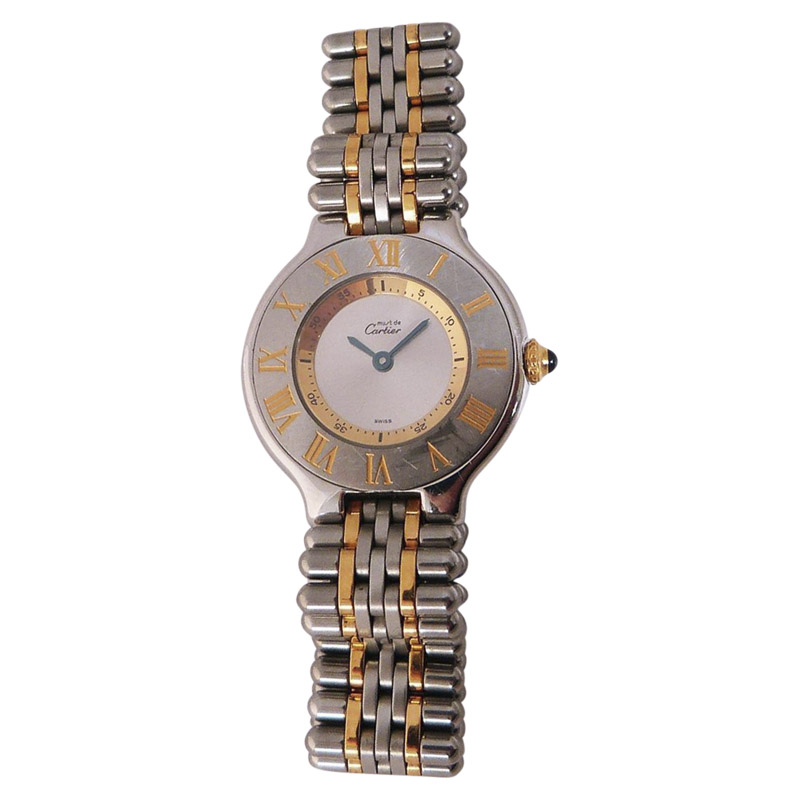 "Image of ""Cartier Must De 21 Stainless Steel & 18K Yellow Gold 28mm Womens Watch"""