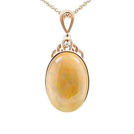 14K Rose Gold 25.05ct Opal and 0.03ct Diamond Pendant