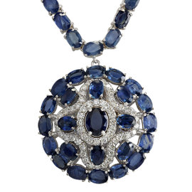 14K White Gold 55.7ct Blue Sapphire & 1.54ct Diamond Necklace