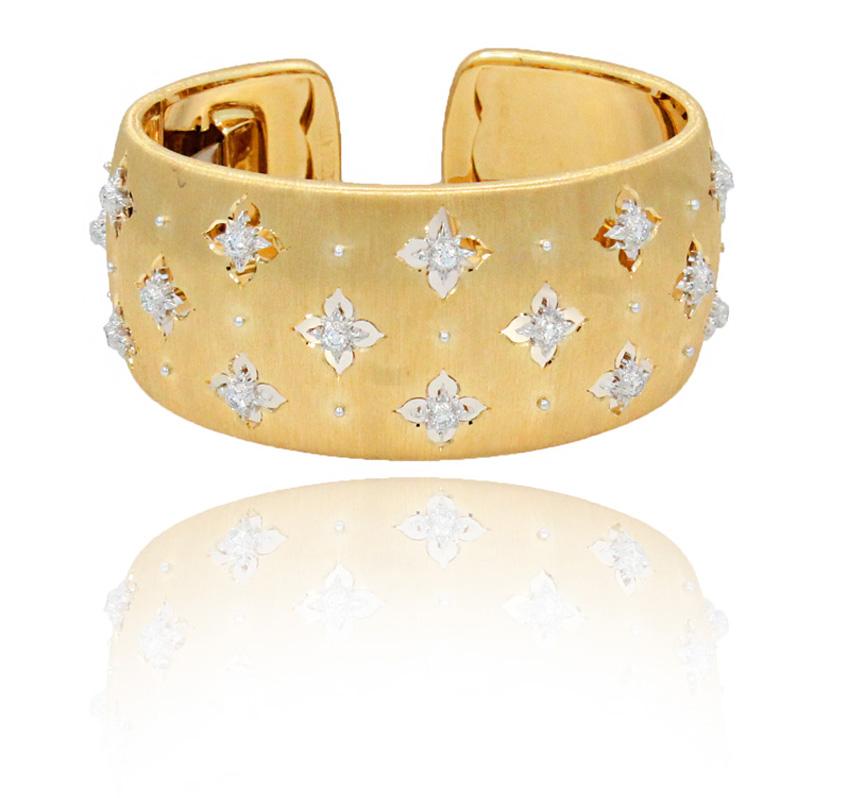 "Image of ""Buccellati Macri 18K Yellow & White Gold Diamond Cuff Bracelet"""