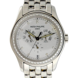 Patek Philippe Complications 18K White Gold Annual Calendar Diamond Dial/Bezel 37mm Watch