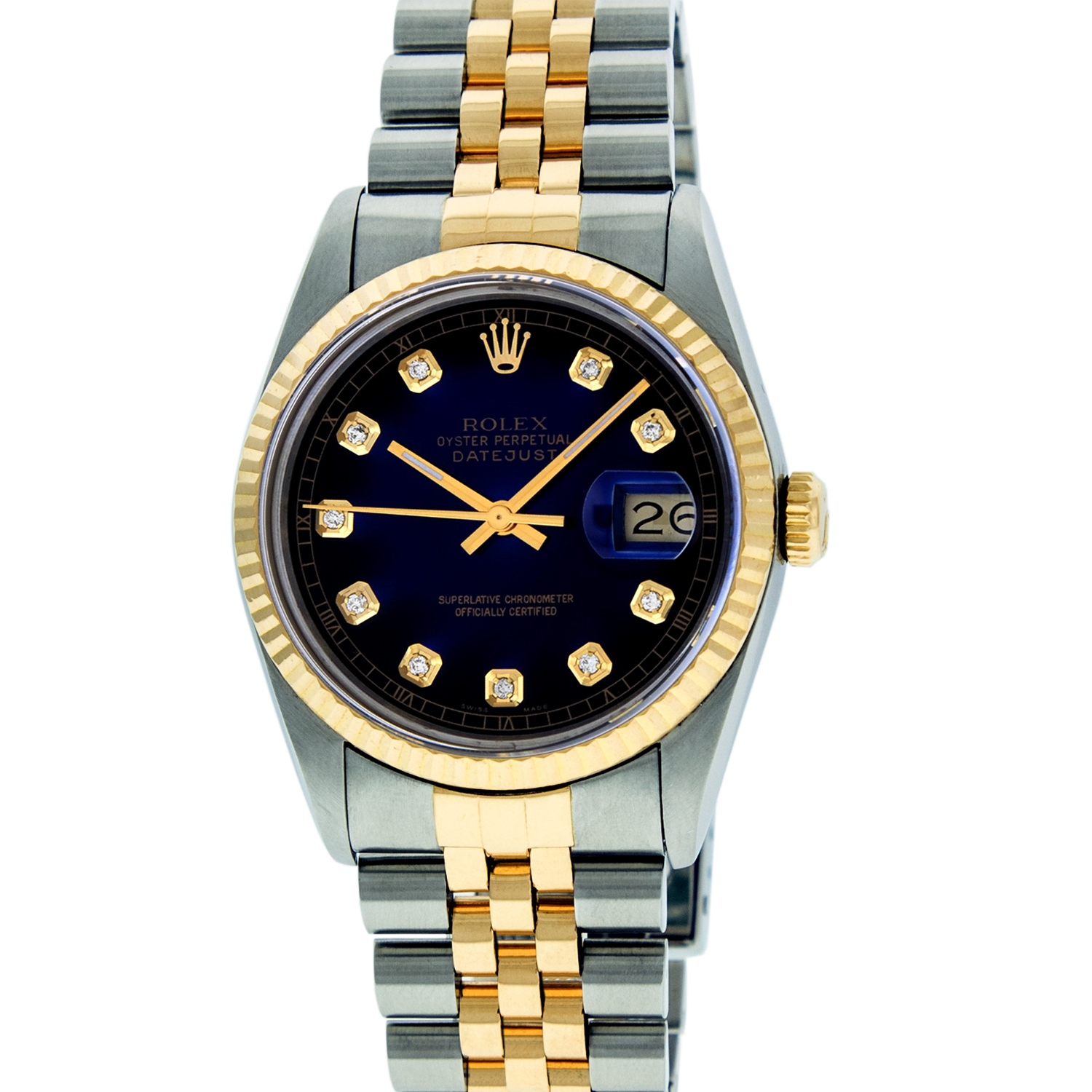 "Image of ""Rolex Mens Datejust 16013 Stainless Steel & 18K Yellow Gold Blue"""