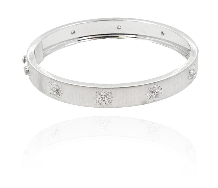 "Image of ""Buccellati Macri 18K White Gold & Diamond Bangle Bracelet"""