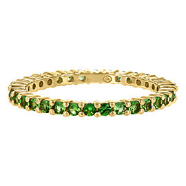 14K Yellow Gold & 1ct Tsavorite Stackable Eternity Band Ring Size 7.5