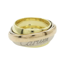 Cartier 18K Yellow White and Pink Trinity Ring Size 5.75