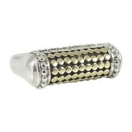 John Hardy Sterling Silver & 18K Yellow Gold Dot Bar Ring Size 6.5