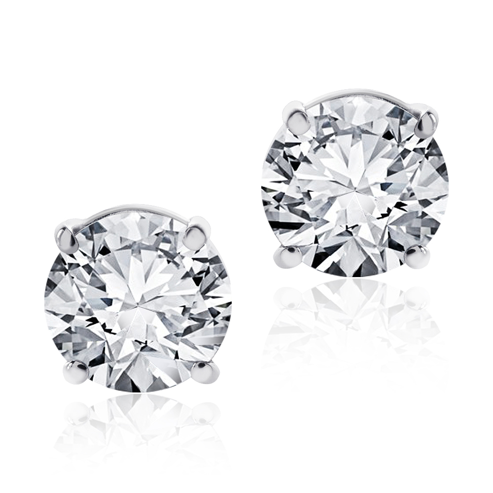 "Image of ""14K White Gold 1.40ct. Round Cut Diamond Stud Earrings"""