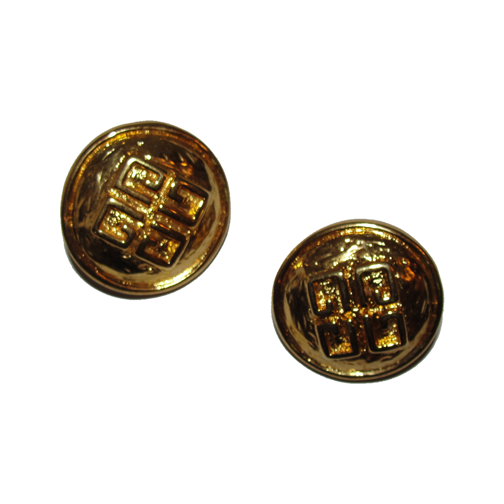 "Image of ""Givenchy 18K Gold Plated Metal 3D Abstract Monogram Clip-On Earrings"""