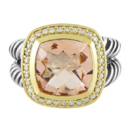 David Yurman Sterling Silver 18K Yellow Gold Albion Morganite Diamond Ring Size 7.25