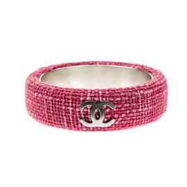 Chanel Pink Tweed CC Logo Bangle