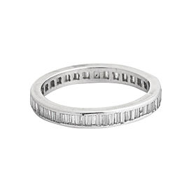 Platinum Baguette Diamond Wedding Band Size 6