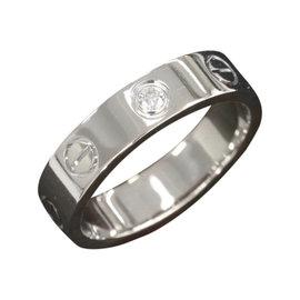 Cartier Mini Love 18K White Gold Diamond Ring Size 3.75