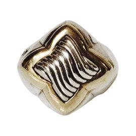 David Yurman Sterling Silver and 18K Yellow Gold Quatrefoil Ring Size 8