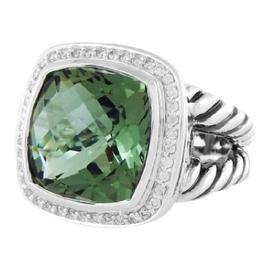 David Yurman Albion Sterling Silver Prasiolite & Diamonds Ring Size 7