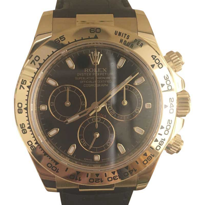 """""Rolex Daytona Cosmograph 18K Yellow Gold & Leather 40mm Watch"""""" 920027"
