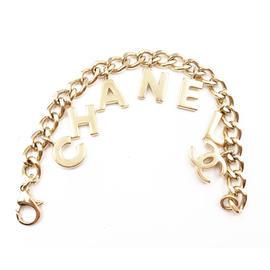 Chanel Gold-Tone Chanel Letter Charm Bracelet