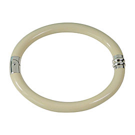 Tiffany & Co. Cream Ivory Enamel and Sterling Silver Hinged Bangle