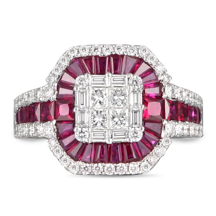 "Image of ""Gregg Ruth 18K White Gold Ruby & Diamond Ring Size 7"""