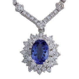 14K White Gold 3.31ct Tanzanite & 5.10ct Diamond Necklace