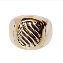 David Yurman 925 Sterling Silver & 14K Yellow Gold Cable Signet Ring Size 8