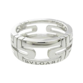 Bulgari 18K White Gold Parentesi Small Ring Size 5.25