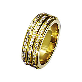 Piaget G34PO5 18K Yellow Gold Diamonds Band Ring Size 6.75