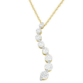 14K Yellow Gold 3.00ct Diamond Pendant Necklace
