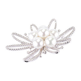 18K White Gold Pearl and Diamond Brooch