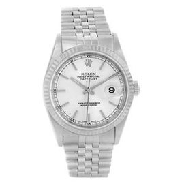 Rolex Datejust 16234 Silver Baton Dial Stainless Steel White Gold 36mm Unisex Watch