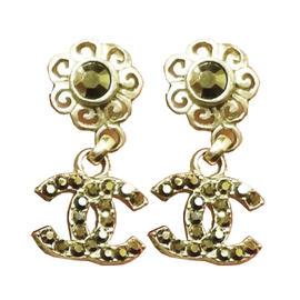 Chanel Bronze Gold Tone Metal & Crystal Flower CC Dangle Piercing Earrings