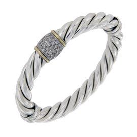 David Yurman 925 Sterling Silver/18K Gold & Diamond Cable Bracelet