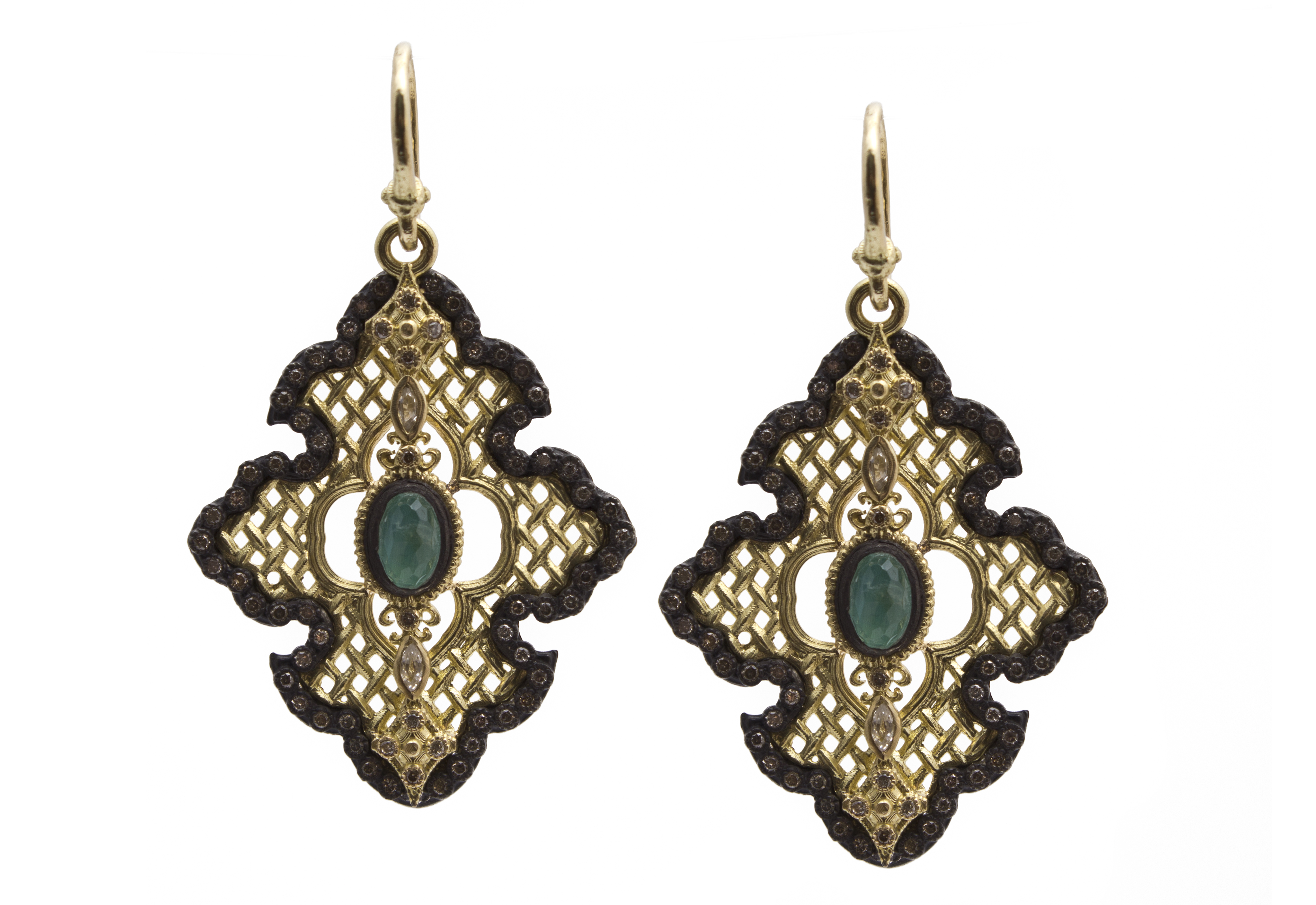 "Image of ""Blackened Sterling Silver/18k Yellow Gold Large Scroll Mesh Earring"""