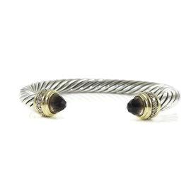 David Yurman Sterling Silver 18K Yellow Gold Smoky Quartz 0.48ct. Diamond Cable Classics Bracelet