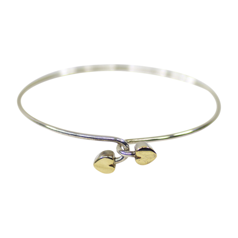 "Image of ""Tiffany & Co. 925 Sterling Silver & 18K Yellow Gold Heart Bangle"""