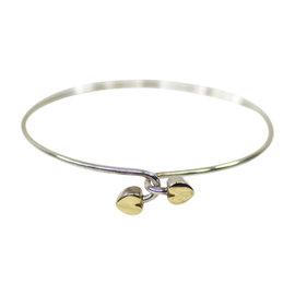 Tiffany & Co. 925 Sterling Silver & 18K Yellow Gold Heart Bangle Bracelet