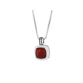 David Yurman Sterling Silver Albion Carnelian Diamonds Pendant