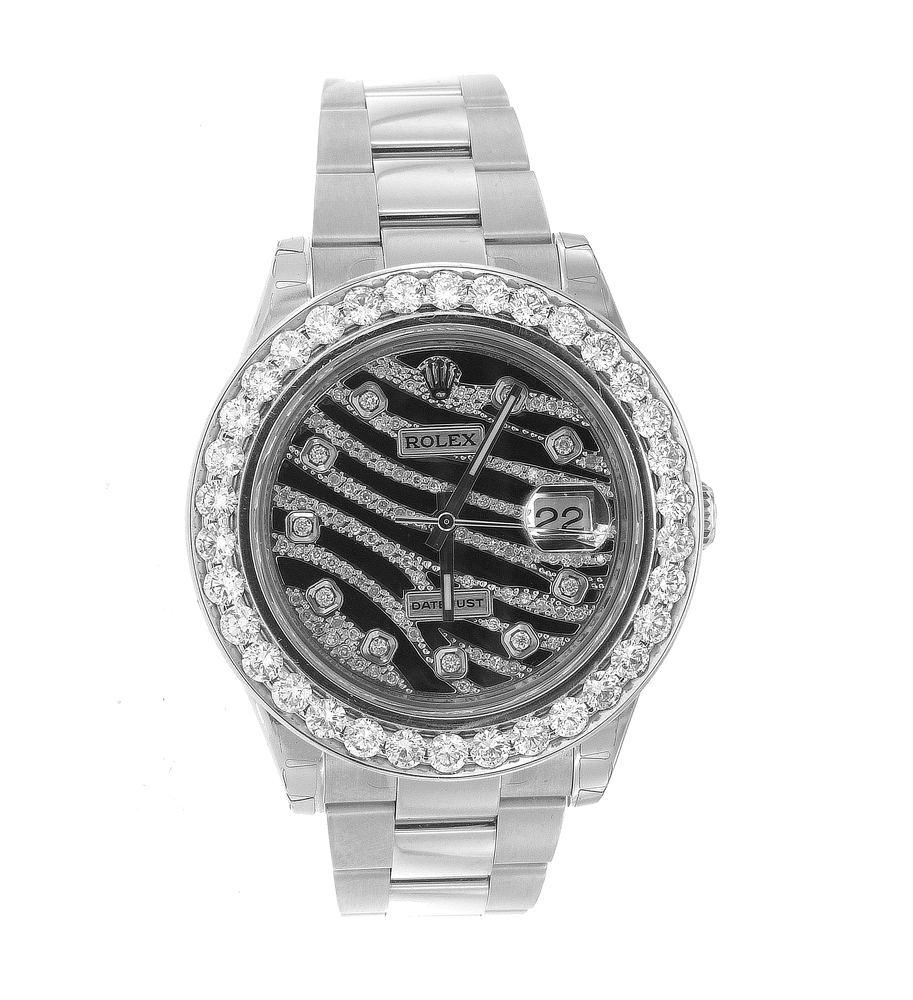 "Image of ""Custom Diamond Rolex Datejust II with Zebra Design Dial"""