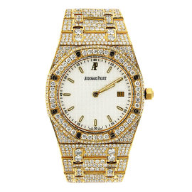 Yellow Gold Audemars Piguet Royal Oak Custom Diamond Watch