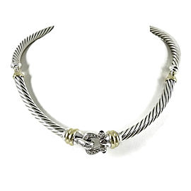 David Yurman Sterling Silver and 18K Yellow Gold with 0.46ct.Diamond Buckle Necklace
