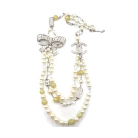 Chanel Silver Tone Metal Crystal Bow Yellow Stone Faux Pearl CC Necklace
