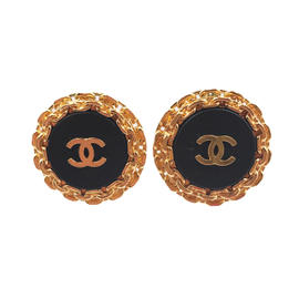 Chanel 24K Gold Plated & CC Black Resin Clip on Earrings