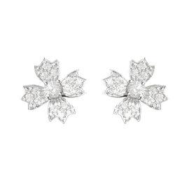Tiffany & Co. 950 Platinum and 0.70ct Diamond Floret Snowflake Stud Earrings