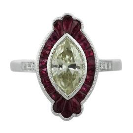 Platinum 1.04ct Diamonds & 0.83ct Ruby Engagement Ring Size 6.5