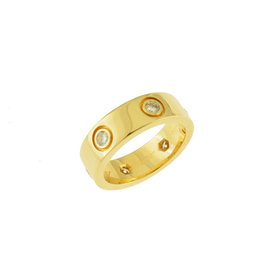 Cartier Love 18K Yellow Gold & 0.45ct Diamond Ring Size 4.5