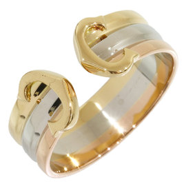 Cartier 18K Yellow White and Rose Gold Double C Decor Ring Size 4.75