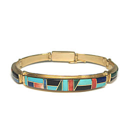 Cherokee T Barbre 14K Yellow Gold Native American Inlay Bracelet