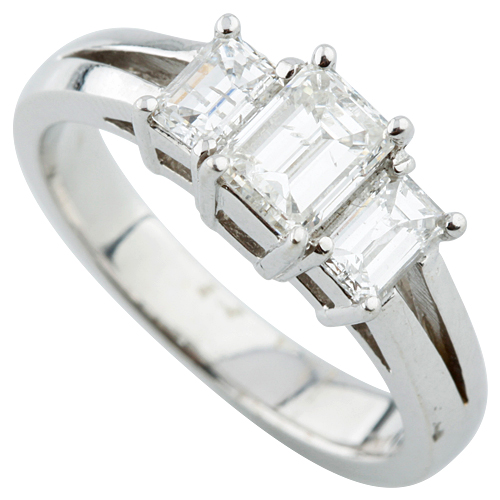 """""18K White Gold and 0.80ct Emerald Cut Diamond Engagement Ring Size 6.5"""""" 2096228"