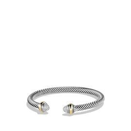 David Yurman Cable Sterling Silver & 14K Yellow Gold Diamonds Bracelet